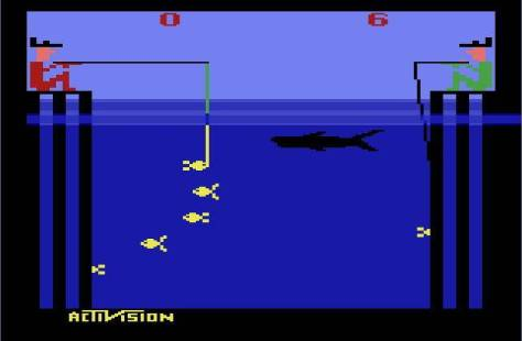 In what seems like a still from The Red Green Show, two oafs try their luck at fishing in shark-infested waters.