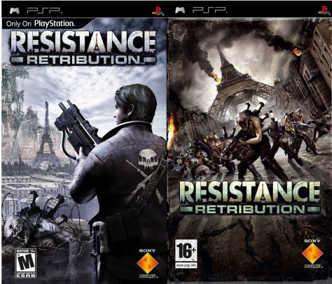 The two differing box arts for the PSP game.