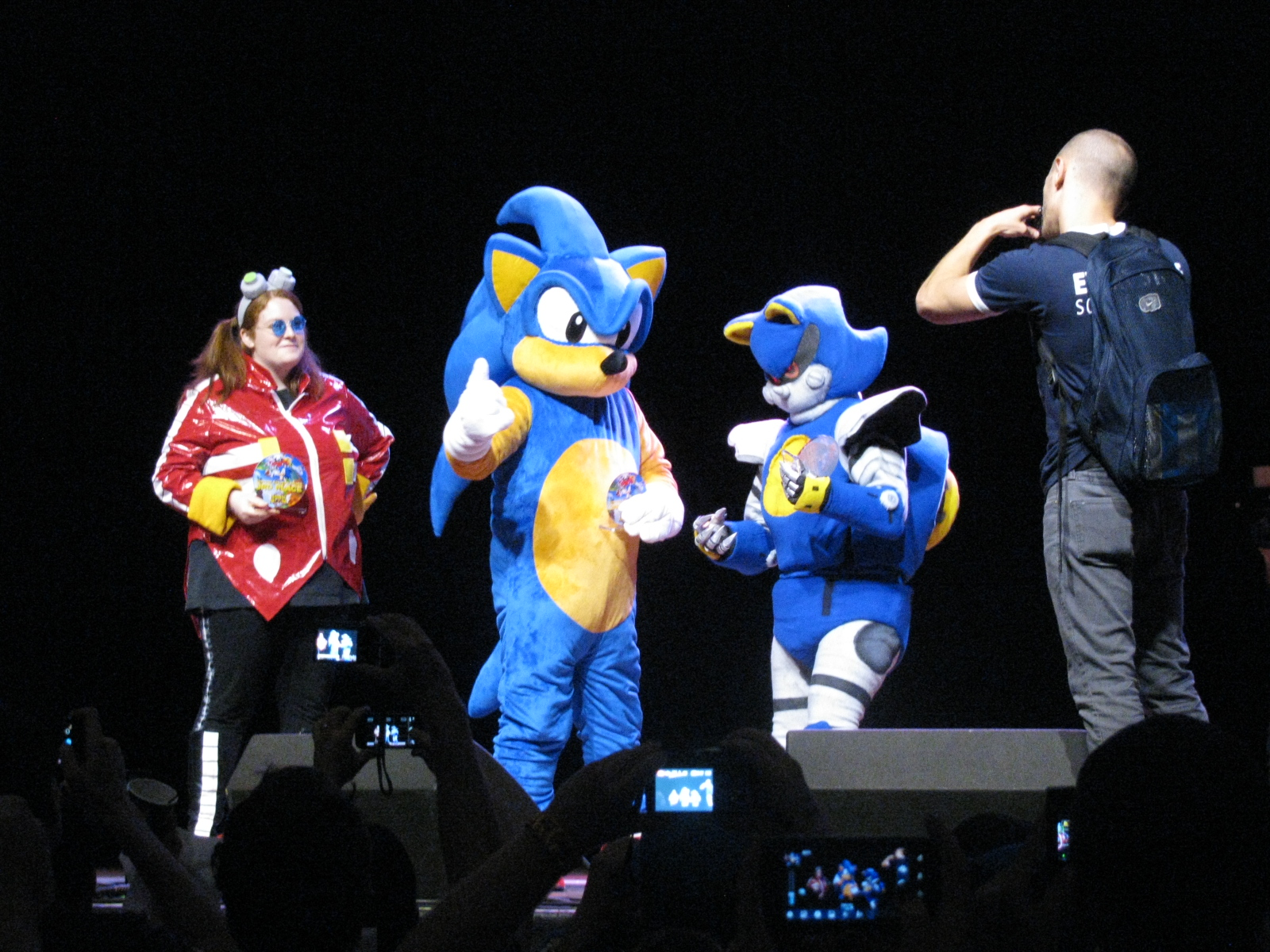 The winners of the costume contest. Doctor Eggman took 3rd, Sonic took 2nd, and Metal Sonic took 1st.