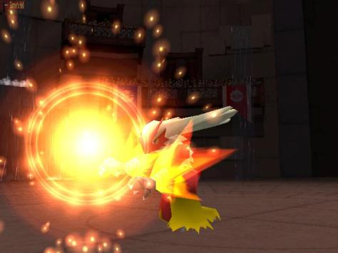 Blaziken deals the damage.