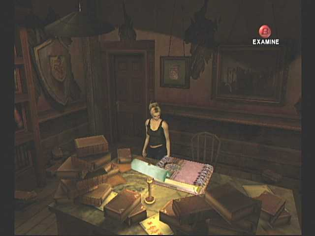 Alex discovering the Tome of Eternal Darkness in her grandfather's secret study.