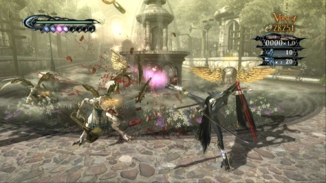 Bayonetta is crazy. She wields four guns - two of them on her feet!