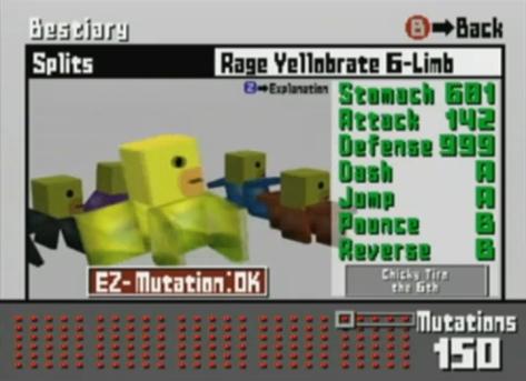 Cubivore - GameCube - Mutation Chart