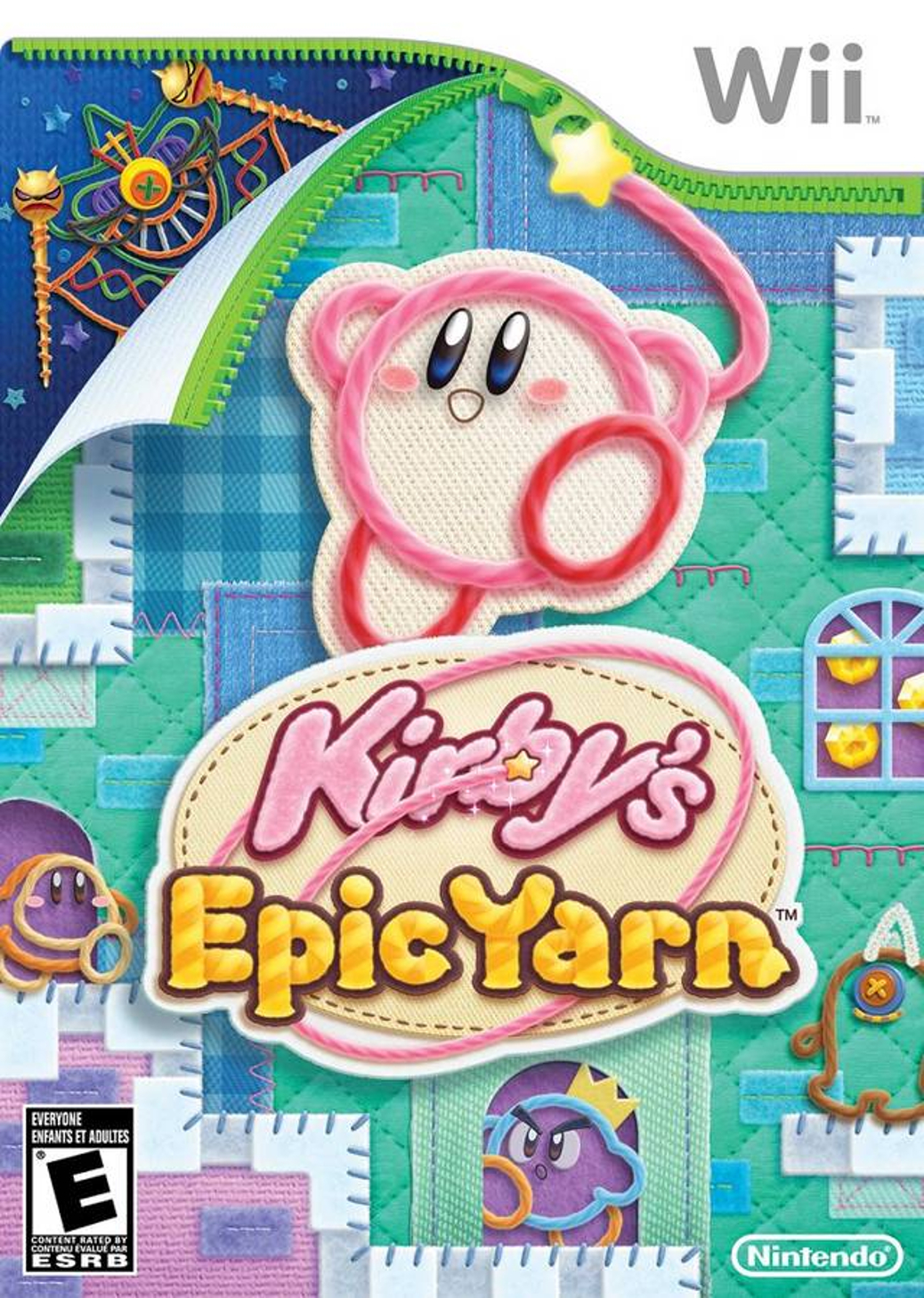 Kirby's Epic Yarn - Wii - North American Box Art